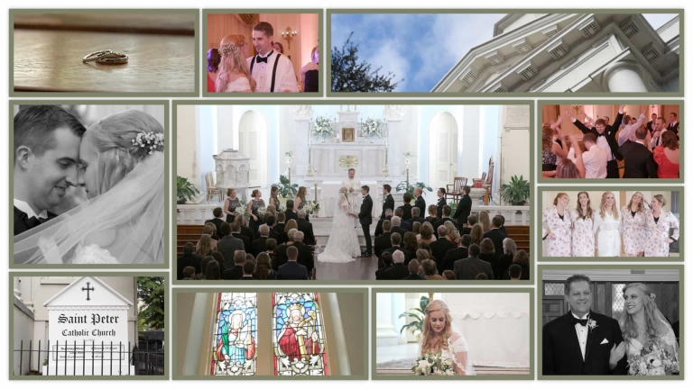 Wedding picture collage St Peters Catholic Church